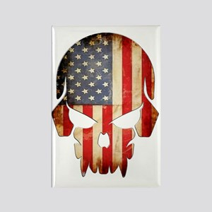 American Flag Skull Rectangle Magnet